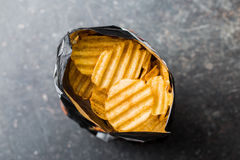 Crinkle cut potato chips. Stock Photo