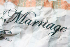Crinkled marriage. Crinkled certificate of marriage-close up Royalty Free Stock Photos