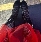 Crinolina funky rossa fotografia stock libera da diritti