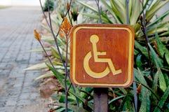 Cripple  sign wood label. In garden Stock Photos
