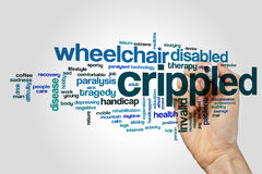 Crippled word cloud concept on grey background.  Royalty Free Stock Photos