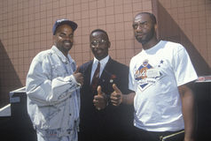 Crips and Bloods gang members uniting after 1992 riots, South Central Los Angeles, California Stock Images