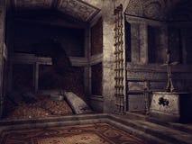 Cripta rovinata con le ossa Fotografia Stock Libera da Diritti