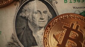Cripto货币bitcoin 美元,欧洲 影视素材
