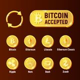 Cripto currency exchange icon set. Cripto currency exchange icon. Bitcoin accepted.  Vector set for apps and websites Stock Photography