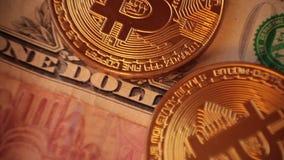Cripto-Währung bitcoin US-Dollar, Euro stock footage