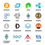 Criptocurrency icon set. Main cryptocurrencies and altcoins collection for buying and trading network. Vector flat style cartoon illustration isolated on white Stock Images