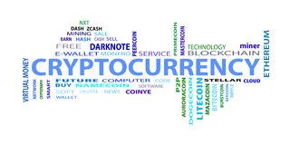 Criptocurrency, word cloud concept on white background. Word cloud related to bitcoin, cryptocurrency, virtual money and transactions; word `cryptocurrency` Stock Photography