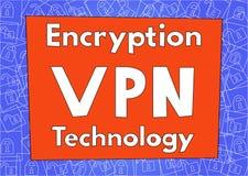 Criptografia do tráfico da Internet usando a tecnologia de VPN texto Fotos de Stock