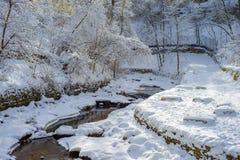 Crique de minnehaha d'enroulement, l'hiver Images libres de droits