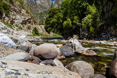 Crique de séquoia, route 180, parc national des Rois Canyon, Californ Photographie stock