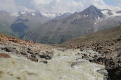 Crique des glaciers, alpes d'Otztal, Autriche Image libre de droits