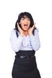 Cris étonnés de femme d'affaires Image libre de droits