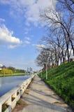 Cris alley. Walking alley near cris river in oradea city of transylvania land of romania stock photo