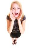 Cris blonds de buisnesswoman de femme d'isolement Images stock