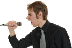 Cris dans le microphone Photo libre de droits