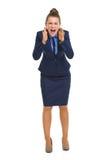 Cris fâchés de femme d'affaires Photo libre de droits