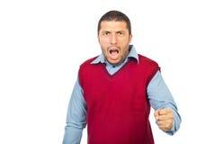 Cris furieux d'homme Photo stock