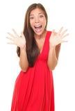 Cris heureux de femme de surprise joyeux Image stock
