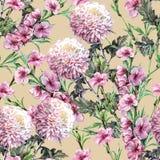 Crisantemo del mazzo con i fiori della pesca dell'acquerello Modello senza cuciture floreale su Ginger Root Background royalty illustrazione gratis