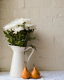 Crisantemos y peras Fotos de archivo libres de regalías
