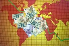 Crise économique du monde - carte Images libres de droits