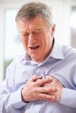 Crise cardiaque de souffrance d'homme supérieur à la maison photo stock