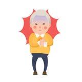 Crise cardiaque de vieil homme, personnage de dessin animé de douleur thoracique Images libres de droits