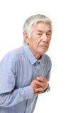 Crise cardiaque japonaise supérieure d'homme Images libres de droits