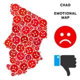 Crise Chad Map Mosaic de vecteur d'Emojis triste illustration stock