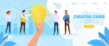 Crise créative Les gens se tiennent à l'ampoule énorme illustration libre de droits