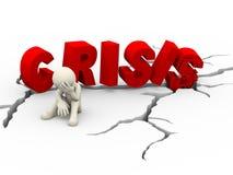 crise criquée de mot d'homme triste du renversement 3d Photo libre de droits