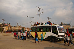 Crise da falta da gasolina em Kathmandu, Nepal Fotografia de Stock