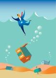 Crise da hipoteca, homem que está sendo puxado sob a água Imagens de Stock Royalty Free