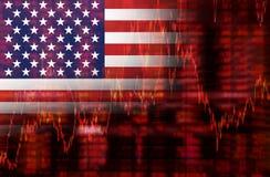 Crise dans le graphique de chute d'actions des Etats-Unis Photographie stock libre de droits