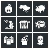 A crise de energia nos ícones do vetor de Ucrânia ajustados Fotos de Stock