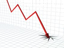 Crise de marché financier, abstrait 3d avec le graphique Images libres de droits