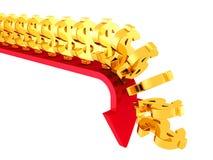 Crise de queda dourada dos símbolos de moeda do dólar para baixo Fotografia de Stock Royalty Free