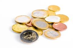 Crise de zone euro, quelques pièces de monnaie d'euro Photographie stock