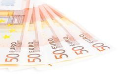 Crise do eurozone, 50 euro- cédulas Fotografia de Stock Royalty Free