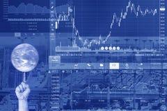 Crise dos problemas econômicos e do negócio com gráfico fotos de stock royalty free