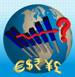 Crise económica do mundo Fotografia de Stock Royalty Free