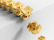 crise en baisse de symboles d'or du dollar 3d vers le bas Photographie stock libre de droits