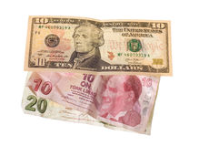 Crise financeira: dólares novos sobre liras turcas amarrotadas Imagens de Stock