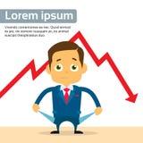 Crise financière de cri de Show Empty Pocket d'homme d'affaires illustration de vecteur
