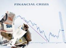 Crise financière et argent de marché boursier Image stock