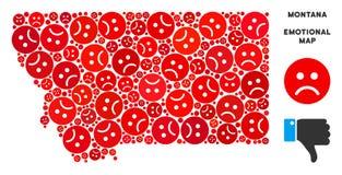 Crise Montana State Map Collage de vecteur d'Emojis triste illustration stock