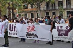 Crise síria dos refugiados - demonstração do Pro-refugiado em Barcelona, Espanha, o 12 de setembro de 2015 Imagem de Stock
