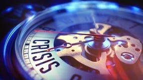 Crise - texto no relógio de bolso 3d rendem Fotografia de Stock
