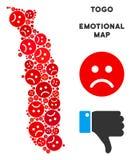 Crise Togo Map Mosaic de vecteur des smiley tristes illustration stock